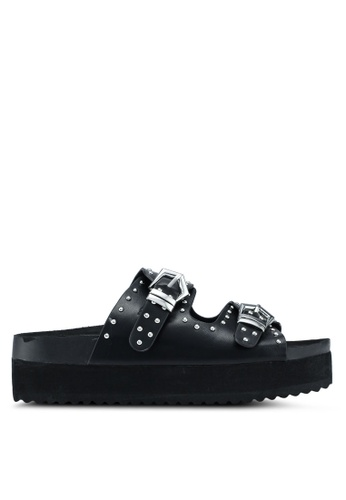 OVS 黑色 Sandals With Studs and Thick Sole 9B9B1SH8FDA1BDGS_1