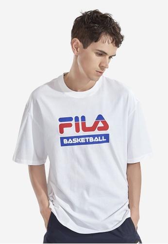 FILA white Fusion FILA Basketball Theme Cotton T-shirt E878EAA6415303GS_1