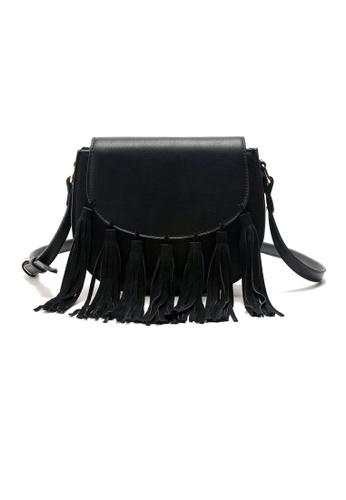 Sunnydaysweety black 2017 New Retro Long Tassel Small Black Handbag C04210 SU443AC06RQZHK_1