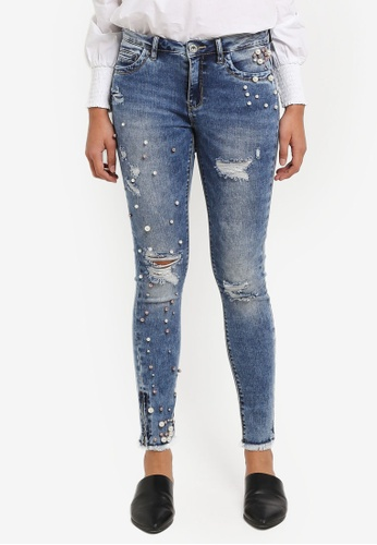ONLY blue Kendell Skinny Ankle Pearl Denim Jeans DF594AA7CCC100GS_1