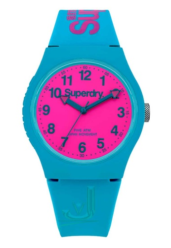 Superdry blue Superdry Urban Pink and Aqua Silicone Watch 698F9AC892AEBEGS_1