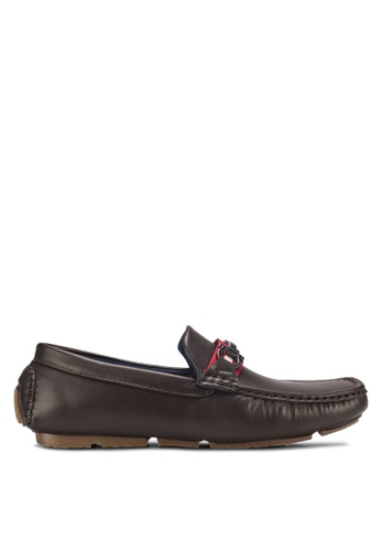 UniqTee brown Driving Moccasins with Buckle Detail UN097SH20RFNMY_1