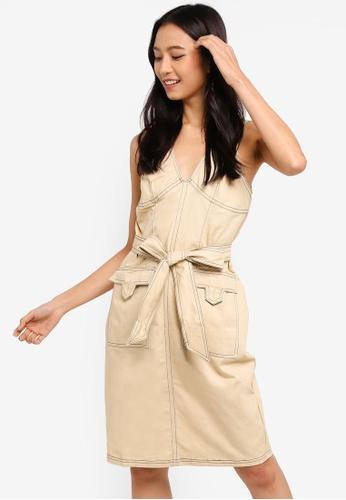 ZALORA 米褐色 Contrast Stitches Midi Dress A879BAA1B1C57EGS_1