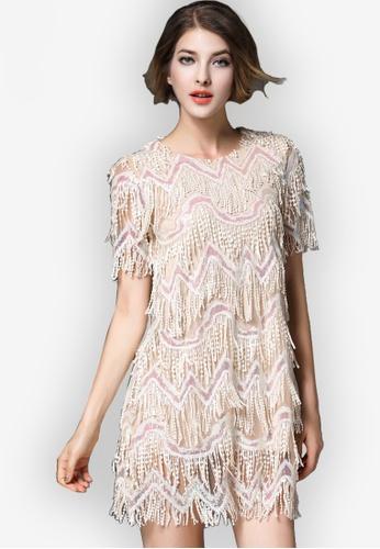 Sunnydaysweety beige Sequin Tassel One-piece Dresses 37314AA215F526GS_1