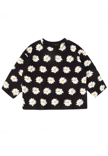 Kiddies Crew black and white and multi 2 Colours Floral Daisies Girls Baby Kids Oversized Long Sleeve Blouse Top (Black) 8D03CKACBFCB44GS_1