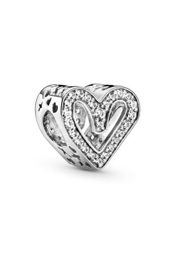 PANDORA silver Pandora Sparkling Freehand Heart Charm F709AACF43C63BGS_1
