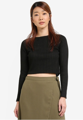 Something Borrowed black Knitted High Neck Crop Top 5C78CAAE5C4CB7GS_1