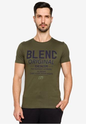 BLEND green Vintage Text Crew Neck T-Shirt 989E3AAC416B21GS_1