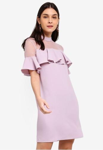 ZALORA 紫色 荷葉飾洋裝 E201DAA2E28F2DGS_1