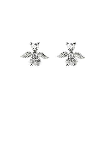 Glamorousky silver Elegant Angel Earrings with Silver Austrian Element Crystals 6FEE1AC8F7BFF6GS_1