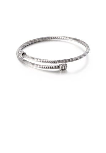 Glamorousky silver Fashion Simple Geometric Round 316L Stainless Steel Bangle 190D2ACD6E7468GS_1