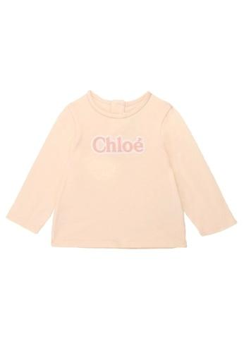 Chloé pink Chloé Baby Girls Long Sleeve T-Shirt with Chloé Embroidered Logo 52B47KABBA84E1GS_1