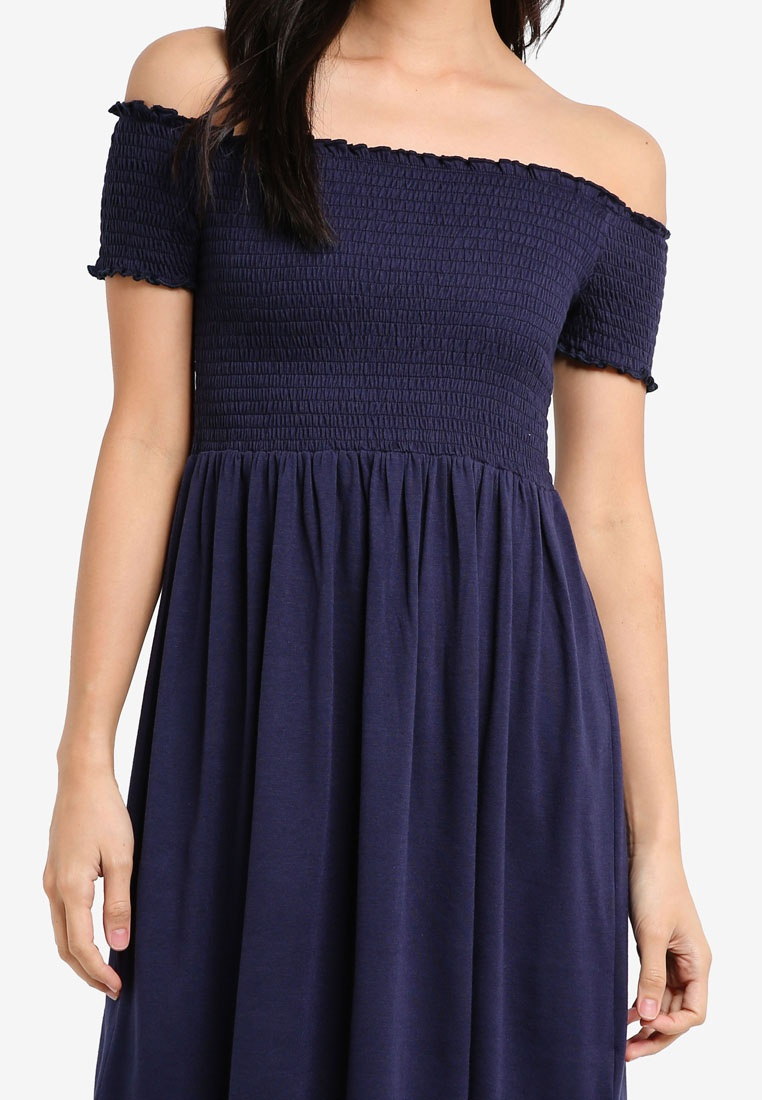 Navy 2 ZALORA BASICS Smocked Pack Dress Essential Burgundy TTFpvY