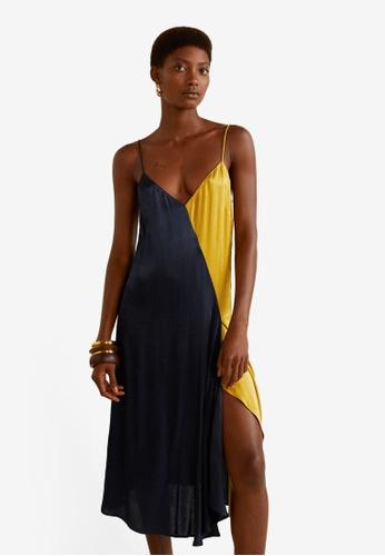 Mango 藍色 綢緞撞色拼接洋裝 EF78DAA8506289GS_1