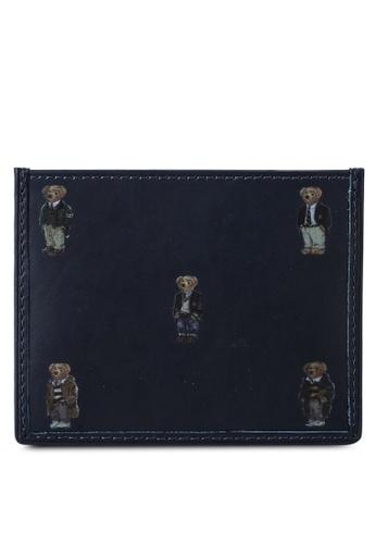 Polo Ralph Lauren navy Bear Smooth Leather Card Holder B25D3AC4022F97GS_1
