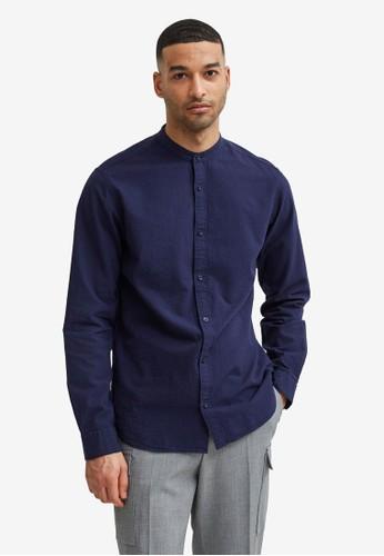 Selected Homme blue Seersucker Mandarin Shirt EE133AA003EB3CGS_1