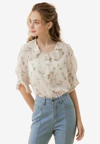 Eyescream white and multi Ruffle Floral Blouse A96ACAA46EC402GS_1