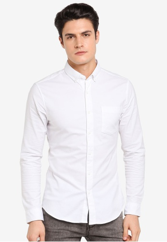 Topman white White Muscle Fit Oxford Shirt TO413AA0T1NXMY_1