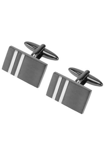 CUFF IT silver Brushed Gunmetal and Silver Rectangular Cufflinks CU047AC23XEIHK_1