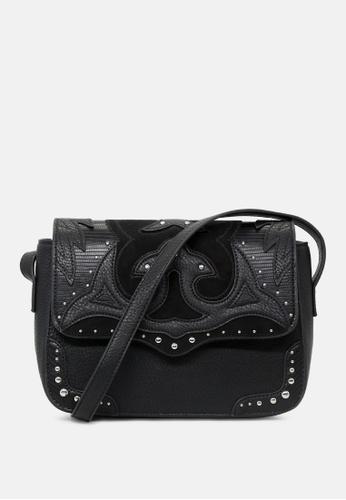 London Rag black Studded Sling Bag CFF0DAC5462E1FGS_1