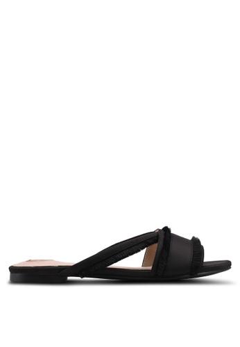 Velvet black Fringed Sandals 522B5SHC404A7AGS_1
