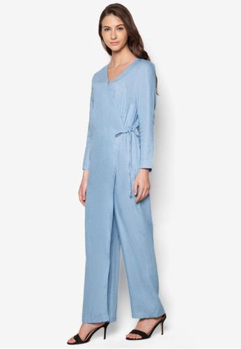 丹寧裹飾長袖連身長褲、 服飾、 連身褲Zalia丹寧裹飾長袖連身長褲最新折價