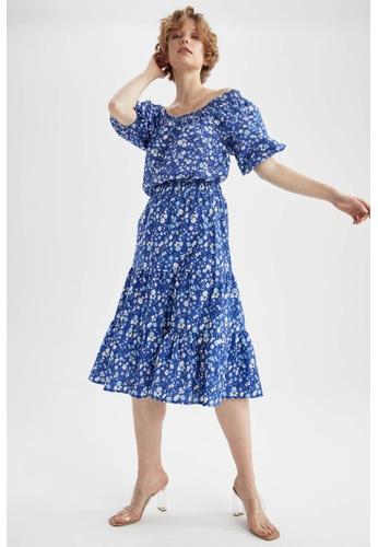 DeFacto blue Short Sleeve Cotton Blouse 1B9D9AA32621DBGS_1