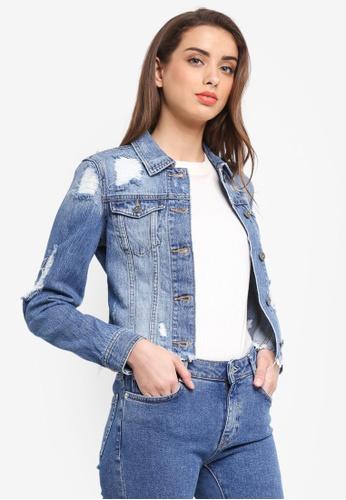 Bardot blue Trashed Lace Up Jacket BA332AA0STBVMY_1