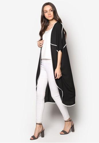 撞色滾esprit女裝邊長版開襟外套, 服飾, 女性服飾
