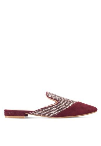 ZALORA red Fabric Mule Flats AA72ASH6B1800CGS_1