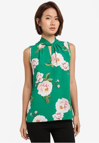 Dorothy Perkins green Green Floral Hannah Twist Top 45151AA7B622C0GS_1