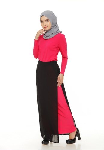 Emanuel Femme black and pink Emanuel Two-sided Split Maxi Skirt 01948AAA8D74D0GS_1
