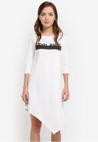 Something Borrowed white 3/4 Sleeve Asymmetric Dress F36C4ZZ8B1C90EGS_1