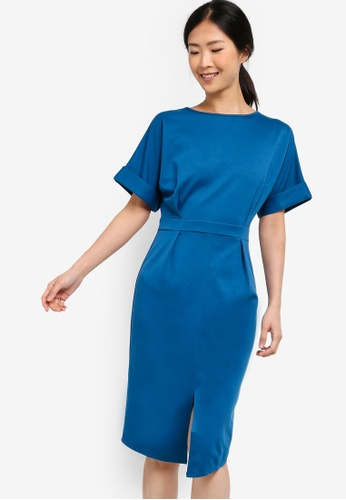 ZALORA BASICS blue Basic Drop Shoulder Dress 89A1CAA9454BB4GS_1