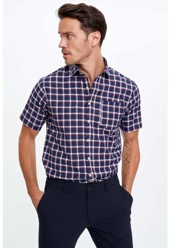 DeFacto blue Man Woven Short Sleeve Shirt 68007AA62C516CGS_1