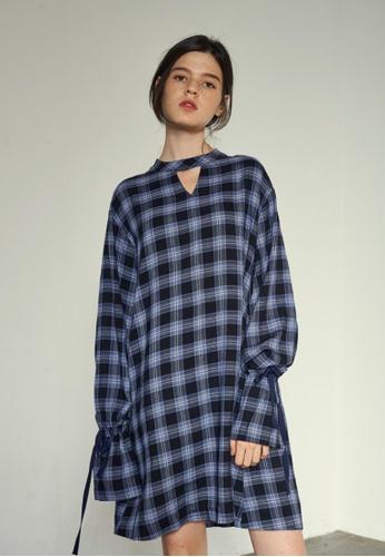 VEMVER blue Neck Point Bell Sleeve Check Dress VE459AA0GKU5SG_1
