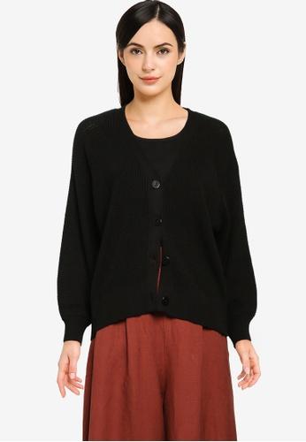 GLOBAL WORK black Casual Knitted Cardigan 48C79AAAEAFB14GS_1