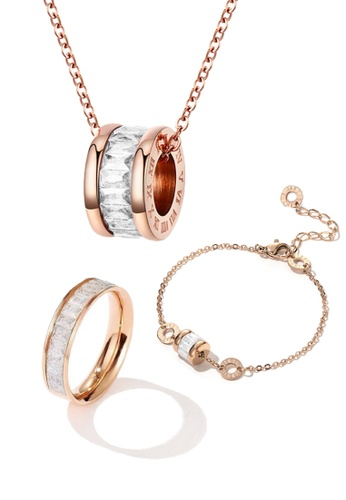 CELOVIS white and gold CELOVIS - Oceane White Cryolite Necklace + Bracelet + Ring Jewellery Set 0D8F2ACC95D82BGS_1