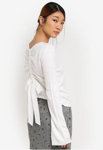 Miss Selfridge white Ruched Bow Back Knitted Sweatshirt MI665AA0SD85MY_1