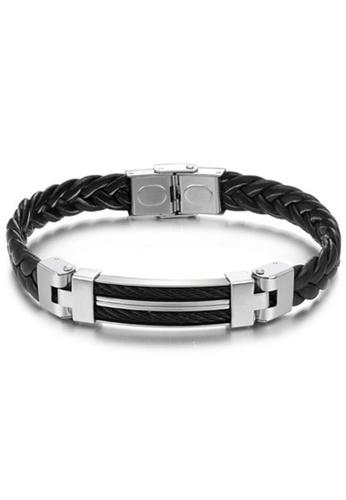 YOUNIQ black YOUNIQ Titanium Steel Line Genuine Leather Bracelet for Men(Black) YO999AC83TFCMY_1
