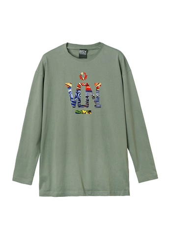 BSX green (Online Exclusive) BSX Oversize Printed Crew Neck Long Sleeve Tee 7FE40AA01DB168GS_1