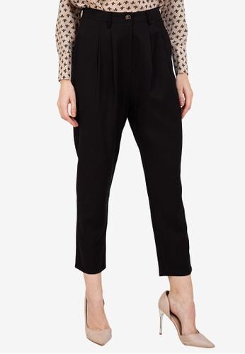 ZALORA WORK black Pleat Detail Pants 350F1AAD939ADDGS_1