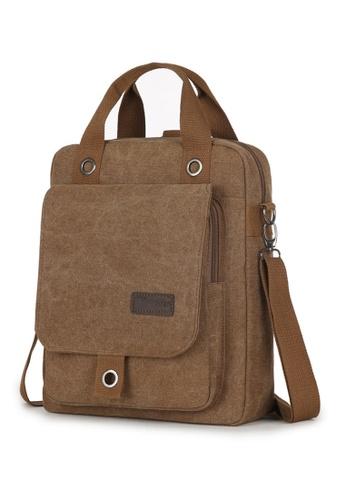 Jackbox brown 2 Style Canvas Bag Ipad Tablet Messenger Sling Bag Backpack 334 (Brown) JA762AC31WSMMY_1