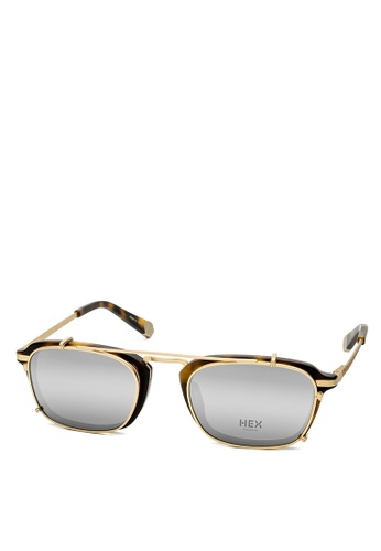 HEX EYEWEAR gold and brown Actor - Damon - Optical with Clip-on - Made in Italy HE671AC2V1IZHK_1
