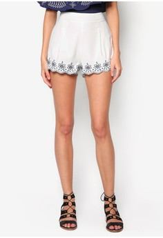 Embrioded Scallop Hem Shorts