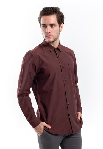 MANLY red MANLY Kemeja Slim Fit Pattern Moncton Maroon Long Sleeve 44043AA67EFEE2GS_1