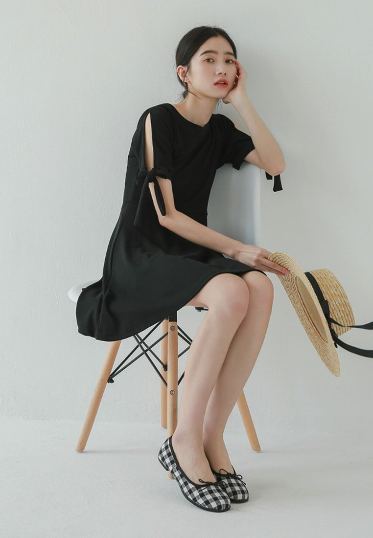 New A052202 Dress Black Sunnydaysweety One 2018 Flare Piece Short Sleeves Black gOxBCq