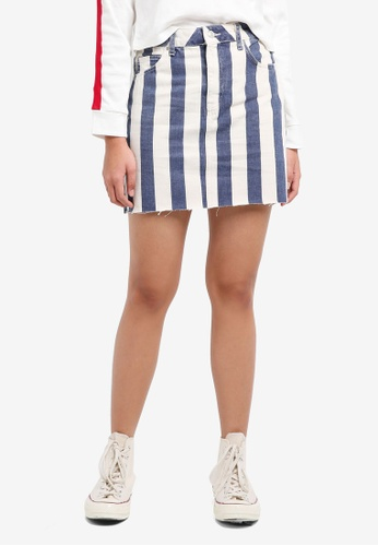 TOPSHOP white and blue Moto Striped Denim Skirt C8FAEAA5373F1AGS_1