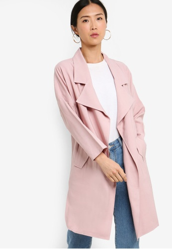 ZALORA BASICS pink Basic Waterfall Trench Jacket 6A31CAAF26213EGS_1