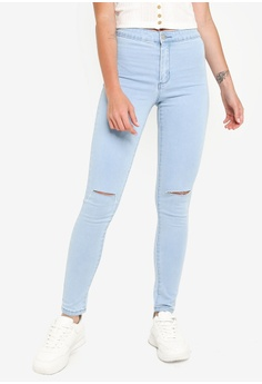 1ed184ece1cc FOREVER 21 blue Ripped High Rise Skinny Jeans 2FEADAAEA35566GS_1